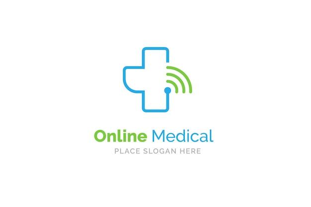 Online medische logo ontwerpsjabloon. gezondheid en geneeskunde symbool.