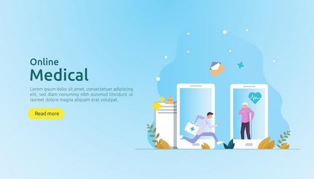 Online medische ondersteuning advies of arts gezondheidszorg concept met mensen karakter