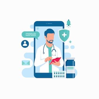 Online medische ondersteuning arts raadpleging smartphone app illustratie
