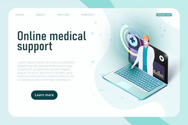 Online medische ondersteuning, tele geneeskunde banner concept. communicatie met arts via smartphone-app.