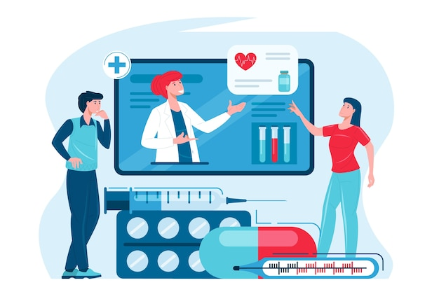 Online medische raadpleging van een patiënt met een arts via telefoon of tablet
