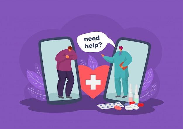 Online medische zorg en diagnose via mobiele telefoon app concept illustratie.