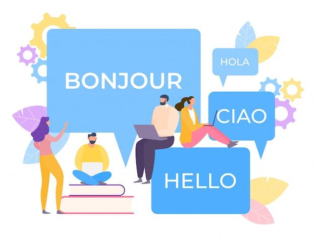Online meertalige vertaler illustratie. applicatie vereenvoudigt het leren van spraak. technologie zet correspondentie om.