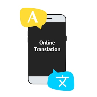 Online meertalige vertaler, vectorillustratie. smartphone met vertaalapp-pictogram op het scherm. online leren van vreemde talen. vertaler-app. online vertaler in mobiele telefoon.