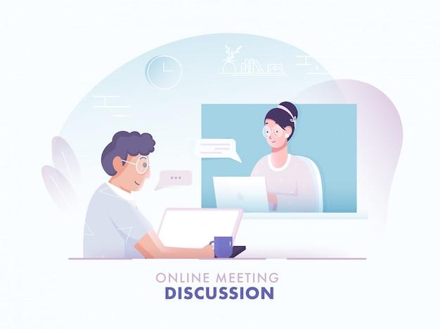 Online meeting discussie concept gebaseerd, illustratie van man met videogesprek naar vrouw in laptop op abstracte achtergrond.