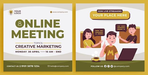 Online meeting promotion feed instagram in platte ontwerpstijl