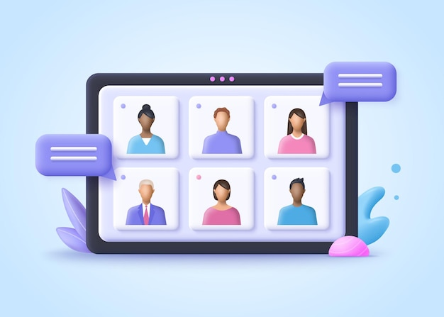 Online meeting, virtual conference video-oproep, briefing, teamwork concept. 3d-realistische vectorillustratie.