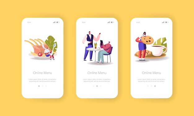 Online menu mobiele app-pagina onboard-schermsjabloon Gratis Vector