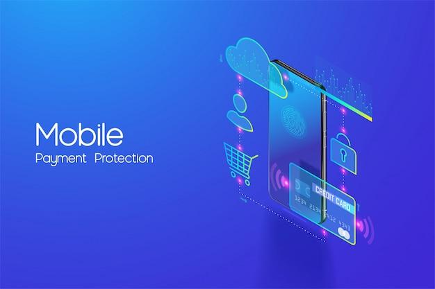 Online mobiel bankieren en internetbankieren isometrisch ontwerpconcept, cashless society, beveiligingstransactie via creditcard en digitale betaling met beveiligde systeemvector