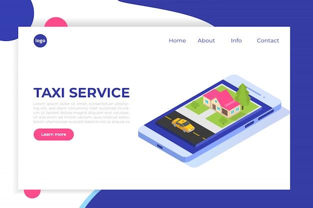 Online mobiel taxi app isometrisch concept. gps-routepunt en gele cabine.