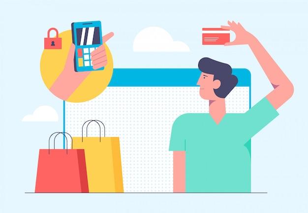 Online mobiel winkelen concept. illustratie in vlakke stijl ontwerp. man producten kopen van bankkaart en betaling op internet.