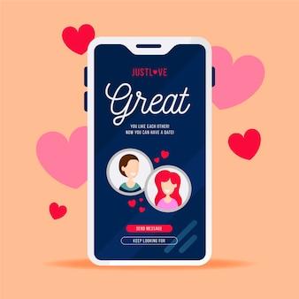 Online modern dating app concept