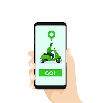 Online motorvervoer met smartphone-app.