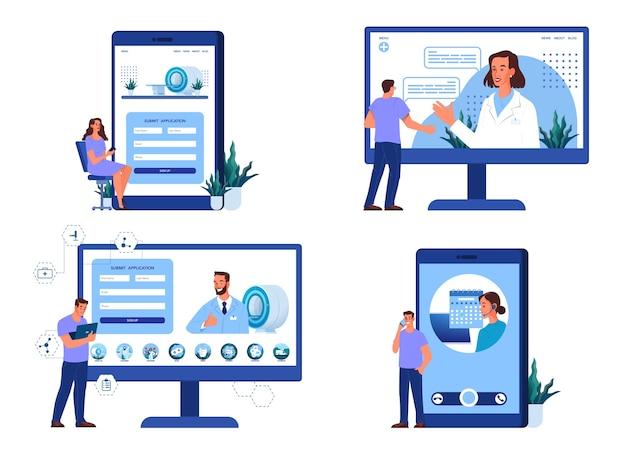 Online mri-registratieconcept. overleg met professional op internet via smartphone of computer. moderne tomografische scanner. mri-kliniek website.
