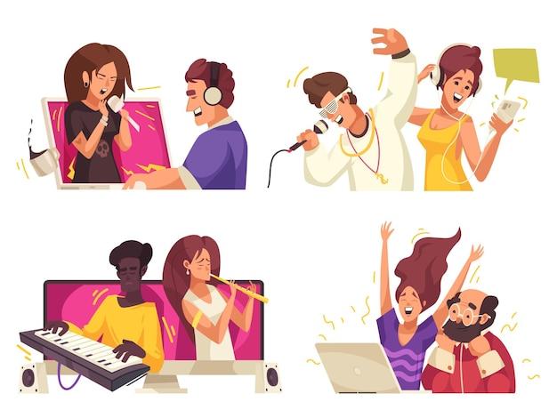 Online muziekinhoud geïsoleerde illustratie