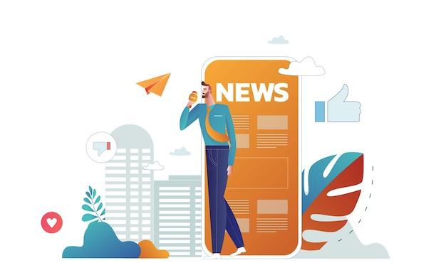 Online nieuws lezen. jonge mannen en vrouwen staan in de buurt van een grote smartphone en gebruiken hun eigen smartphones