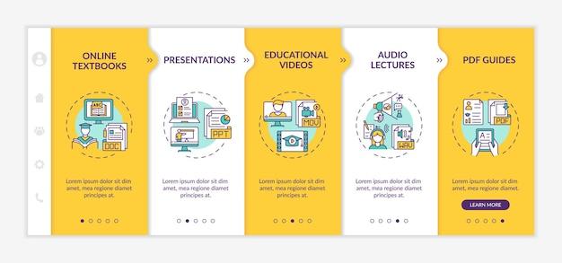 Online onboarding-sjabloon voor digitale bronnen. online studieboeken en presentaties. responsieve mobiele website met pictogrammen. doorloopstapschermen voor webpagina's. rgb-kleurenconcept