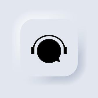 Online ondersteuning 24 7 uur icoon. callcenterondersteuningssymbool met hoofdtelefoonafbeelding. consultant concept voor e-commerce of e-learning. neumorphic ui ux witte gebruikersinterface webknop. vectoreps 10.