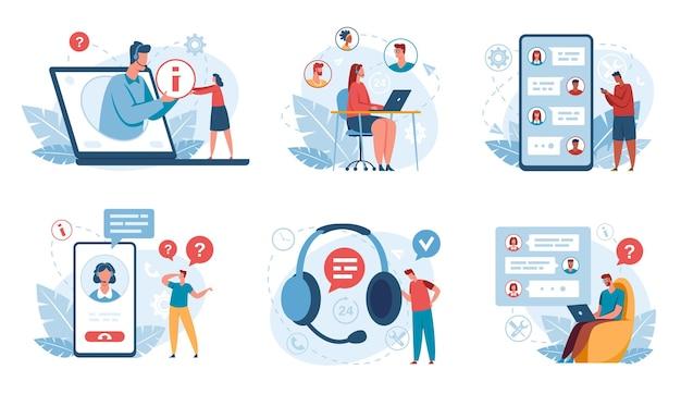 Online ondersteuning klantenservice operators helpen klanten hotline callcenter ondersteuning virtuele assistent