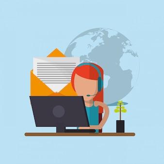 Online ondersteuning of remote technische service pictogrammen afbeelding