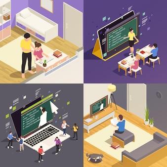 Online onderwijs 2x2 isometrisch met kinderen die studeren op internet kijken naar videocursus 3d