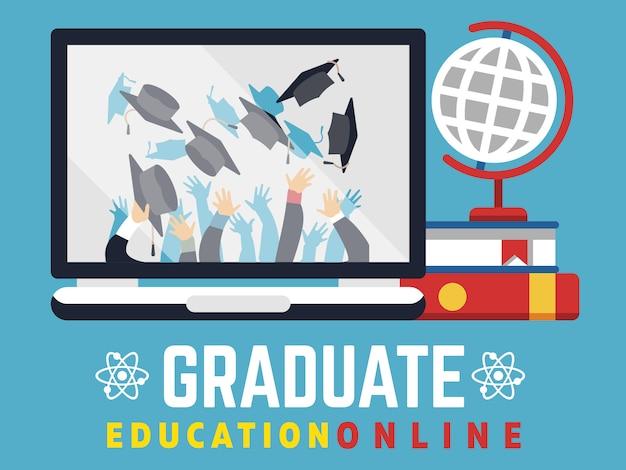 Online onderwijs afgestudeerde platte concept