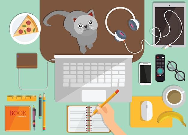 Online onderwijs, afstandsonderwijs, bovenaanzicht van de werkplek
