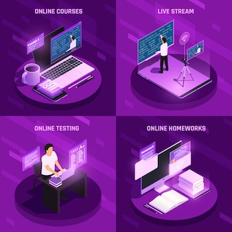 Online onderwijs banner collectie in paarse kleur