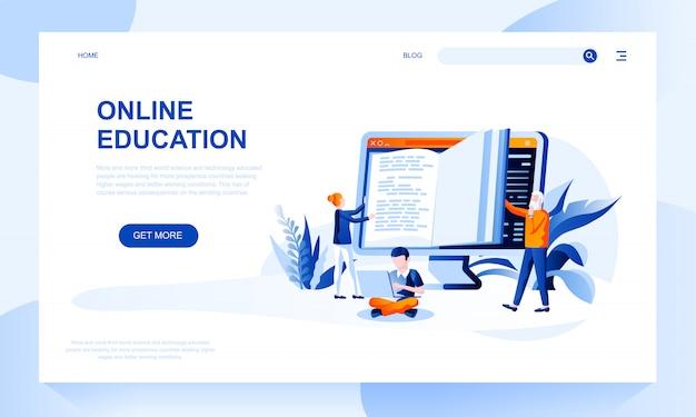 Online onderwijs bestemmingspagina sjabloon met koptekst