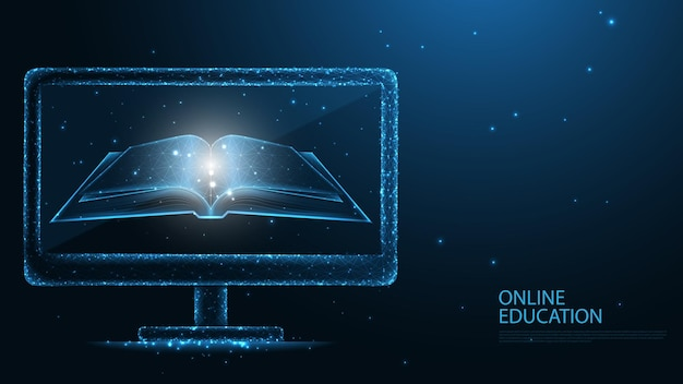 Online onderwijs. boek en computerscherm lijnverbinding. laag poly draadframe-ontwerp. abstracte geometrische achtergrond. vectorillustratie.