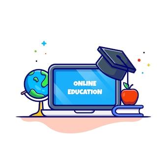 Online onderwijs cartoon pictogram illustratie. onderwijs technologie pictogram concept geïsoleerd. platte cartoon stijl