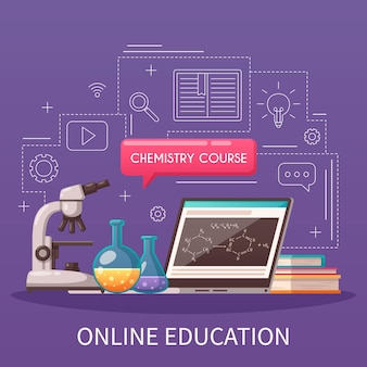 Online onderwijs college universiteit scheikunde cursus cartoon samenstelling met microscoop tablet retorts geschetst stijl