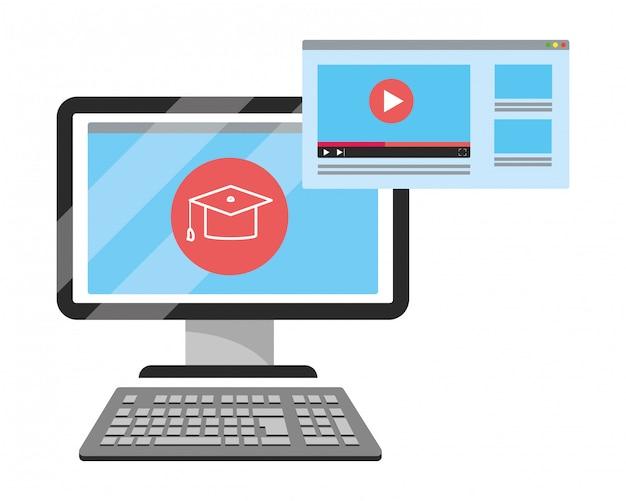 Online onderwijs computer cartoon