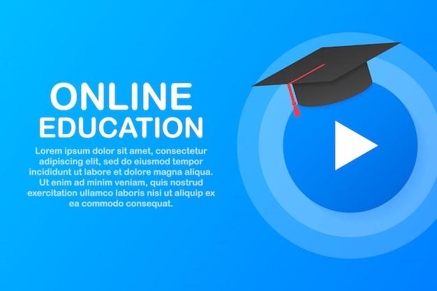 Online onderwijs concept banner. online trainingen. tutorials, e learning ..