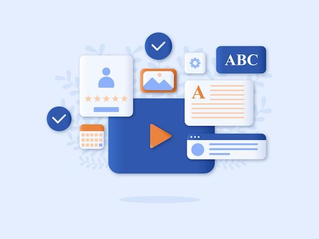 Online onderwijs concept vector illustratie vlakke stijl