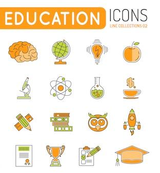 Online onderwijs dunne lijn kleur web icon set