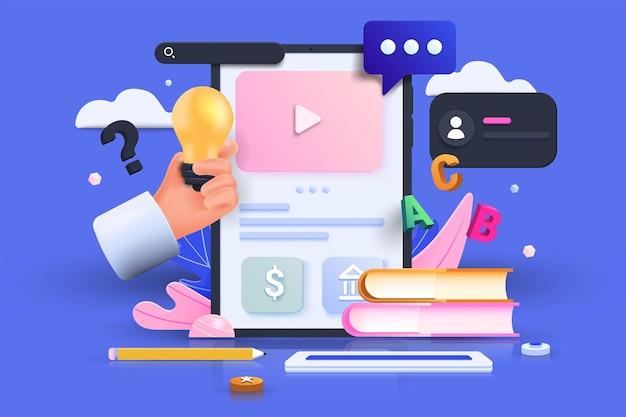 Online onderwijs, e-learning concept. tablet met stapels boeken, online videotraining via online platform. 3d vectorillustratie