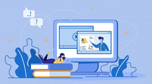 Online onderwijs, e-learning via digitaal apparaat.