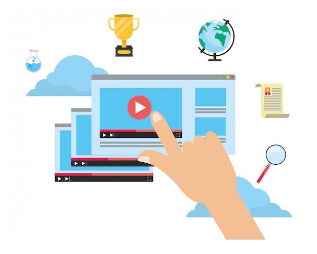 Online onderwijs elementen cartoon
