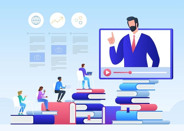 Online onderwijs en afstuderen. online leraar op computermonitor.