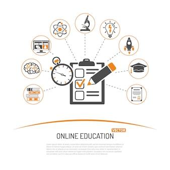 Online onderwijs en e-learning concept met test platte icon set voor flyer, poster, website. geïsoleerde vectorillustratie