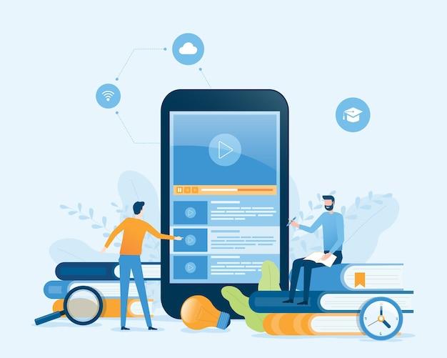 Online onderwijs en e-learning thuis concept