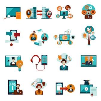 Online onderwijs icons set