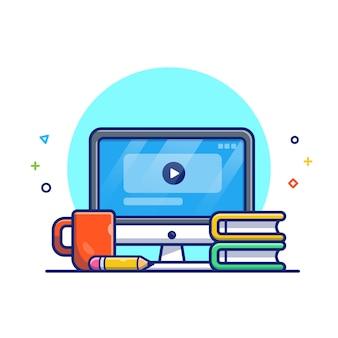 Online onderwijs illustratie. computer, boek en koffie. onderwijs pictogram concept wit geïsoleerd
