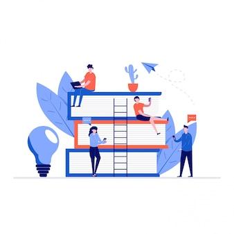 Online onderwijs illustratie concept met karakters en boeken. student leren met smartphone, gadget.