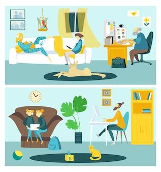 Online onderwijs in computer concept vector illustratie platte familie man vrouw karakter gebruik internet...