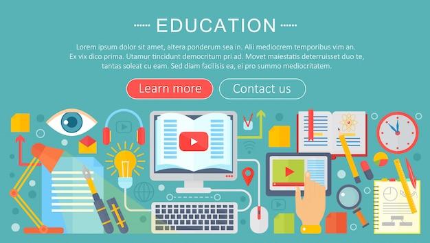 Online onderwijs infographics sjabloonontwerp