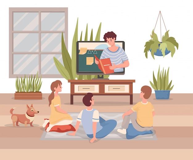Online onderwijs, internet leren platte cartoon illustratie. leren op afstand tijdens een uitbraak van het coronavirus.