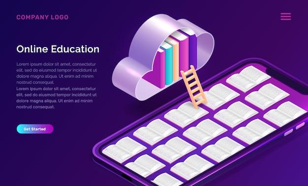 Online onderwijs isometrisch concept