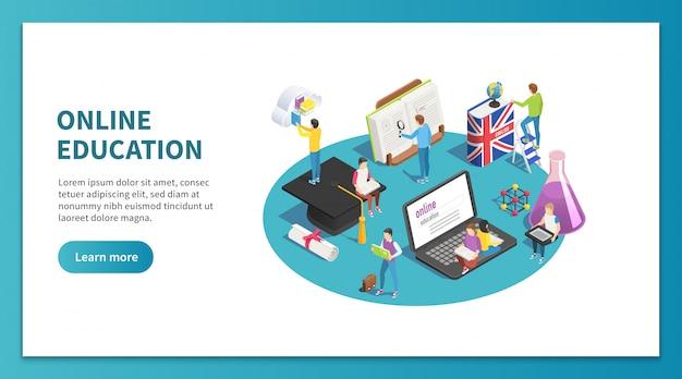 Online onderwijs isometrisch. internet studeren en web cursus. landingspagina van de studentenwebsite leren